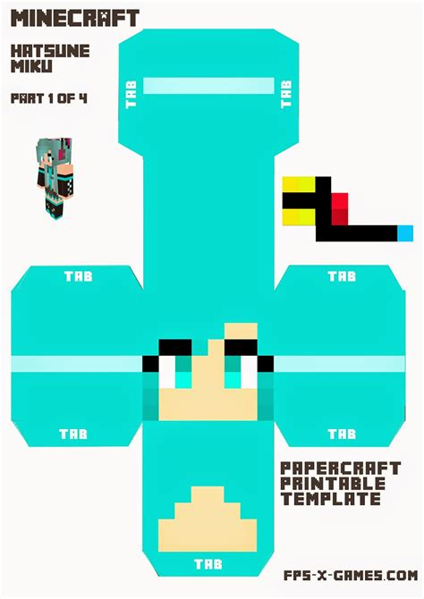 How To Make A Minecraft Person Out Of Paper - large printable hatsune miku minecraft character