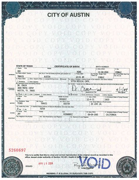 birth certificates live birth certificate