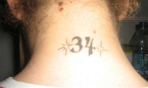 number tattoo on neck number 34 tattoo on back neck