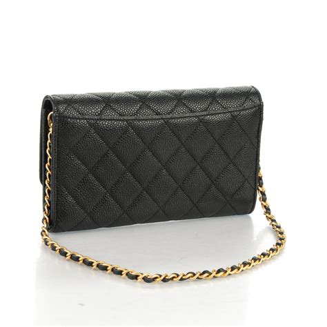 Chanel Caviar Chain chanel caviar quilted wallet on removable chain black 162150