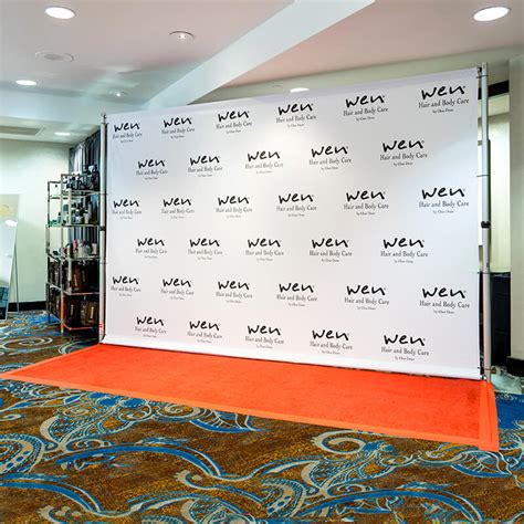 how to design backdrop banner wen by chaz dean 8x12 fabric banner on pipe and base