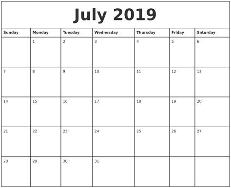 printable july weekly calendar july 2019 printable monthly calendar