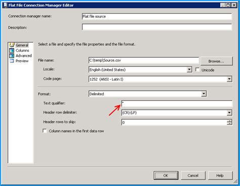 csv format text qualifier sql server 2008 how to remove double quotes surrounding