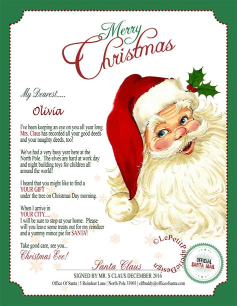 free editable printable letter from santa letter from santa claus editable printable father christmas