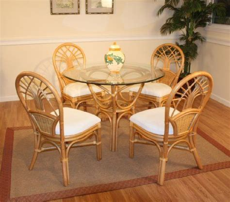 Wicker Kitchen Table And Chairs Jupiter Rattan Dining Set Of Table 4 Chairs By Wicker Paradise 995 00 Attractive Warm