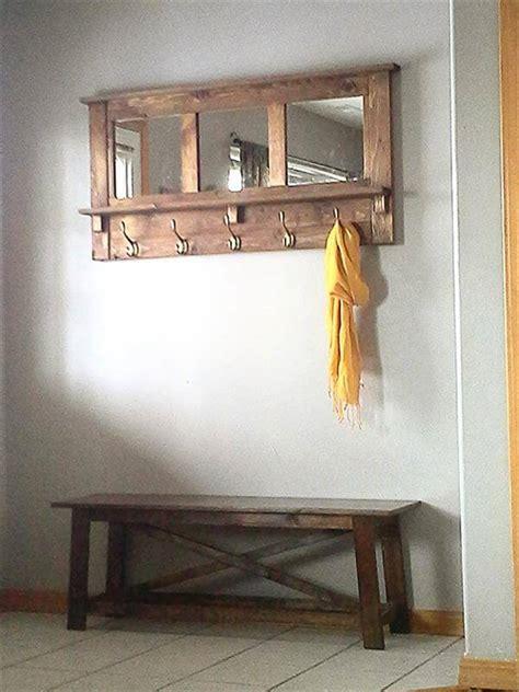 Entry Coat Bench Diy Pallet Mirrored Coat Rack Pallet Furniture Diy