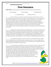 Text Structure Worksheets 5th Grade by Text Structure Worksheets