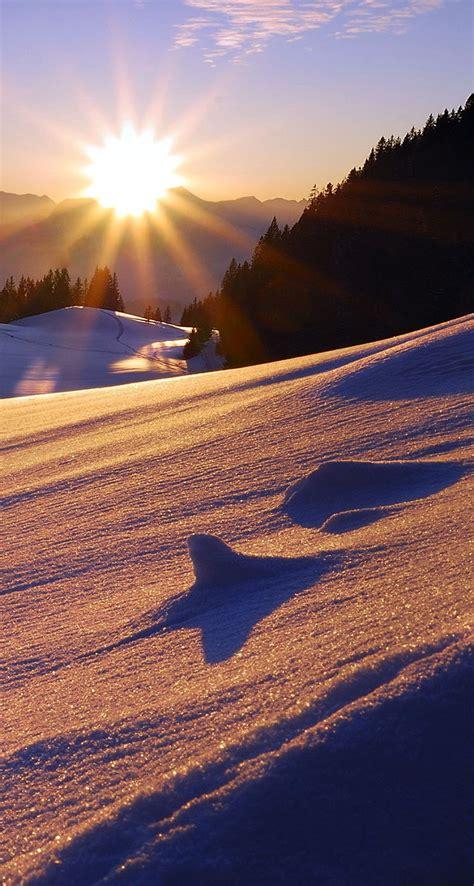 sun mountains snow sunset  iphone wallpapers