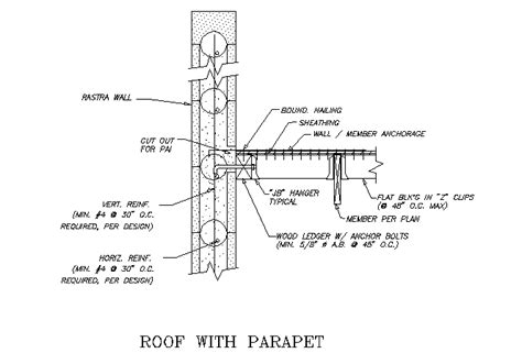 Parapet Detail Section by Drawings