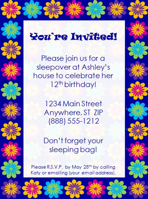 birthday invites template colorful birthday invitation template