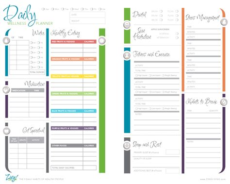 healthy planner template zing living nine daily habits of healthy