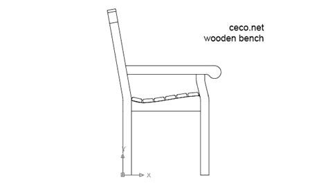 bench cad block wooden bench side view block in furniture autocad free