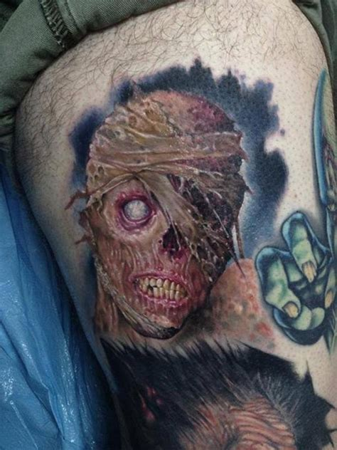 neck tattoo zombie creepy colored horror style thigh tattoo of monster face