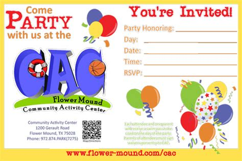 Sends Out Invites For Bday Bash by Flower Mound Tx Official Website