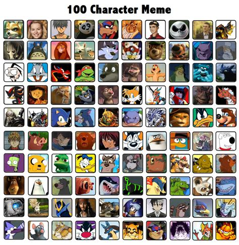 All Meme Characters - 100 character meme by t bone 0 on deviantart