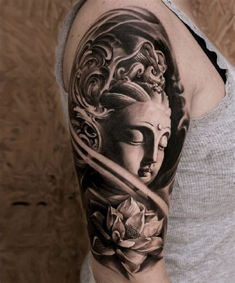 buddha tattoo sleeve 3d black and white buddha statue on shoulder