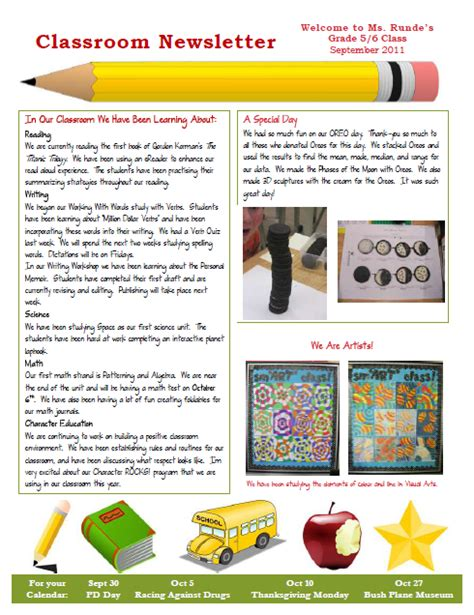 templates newsletter elementary school newsletter templates free