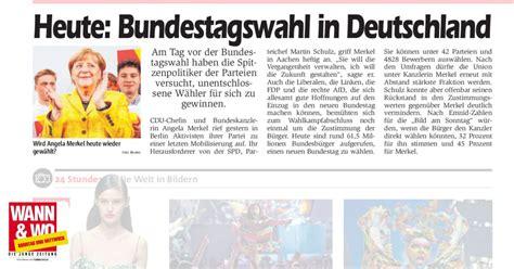 wann sind wahlen in deutschland heute bundestagswahl in deutschland wann wo