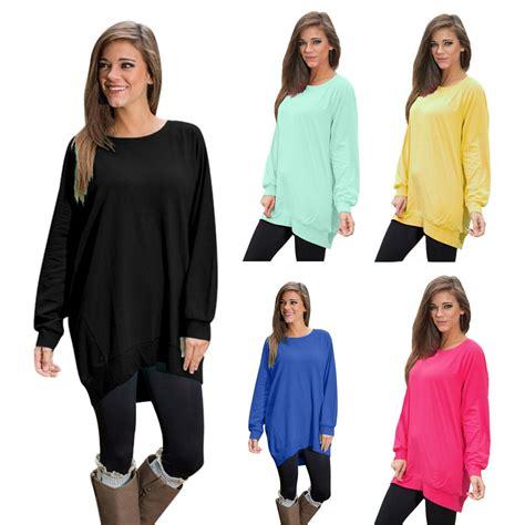 Jumbo Big Blouse Hewilsa Plain Longsleeve 2016 s autumn solid sleeve t shirt tunic tops large size casual