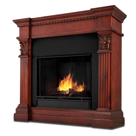 real burnished oak gel fuel fireplace