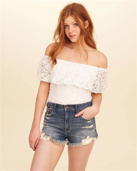 Lace Shoulder Top Hollister lyst hollister ruffle lace the shoulder top in white