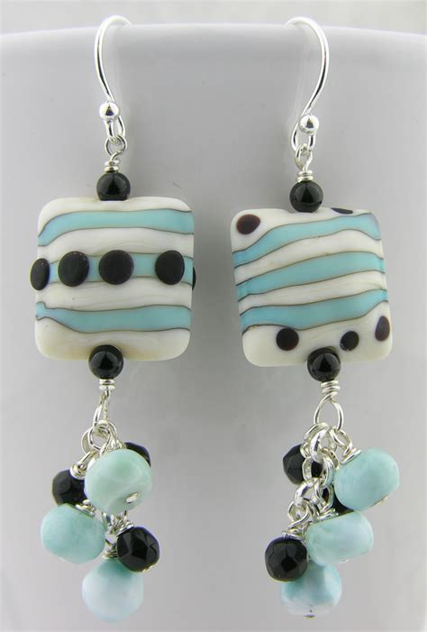 Handmade Ear Rings - handmade earrings black turquoise white lwork onyx