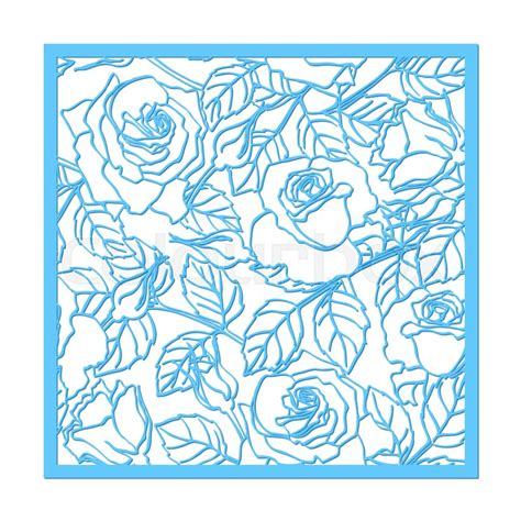 Cutting Dies Square Flower Pattern Laser Cut Vector Ornament Cutout Pattern Silhouette