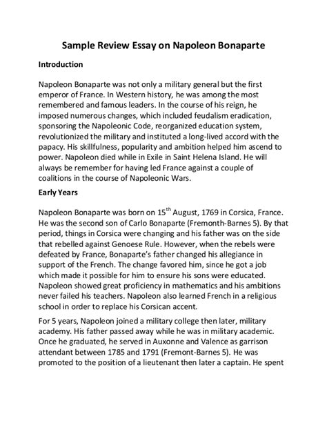 Napoleon Bonaparte Essay sle review essay on napoleon bonaparte