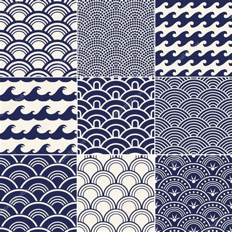 japanese pattern vector illustration japanese seamless ocean wave pattern stock vector