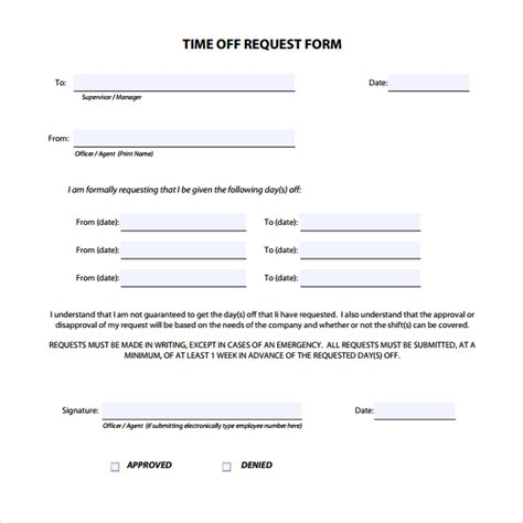 free printable time off sheets printable doc free download time off request form