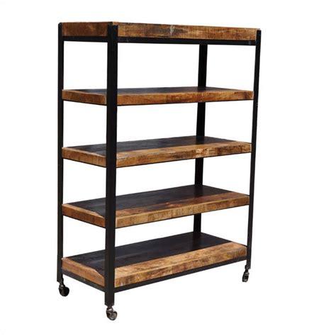 Rolling Shelf Rack by Industrial 5 Shelf Iron Mango Wood Rolling Open Rack