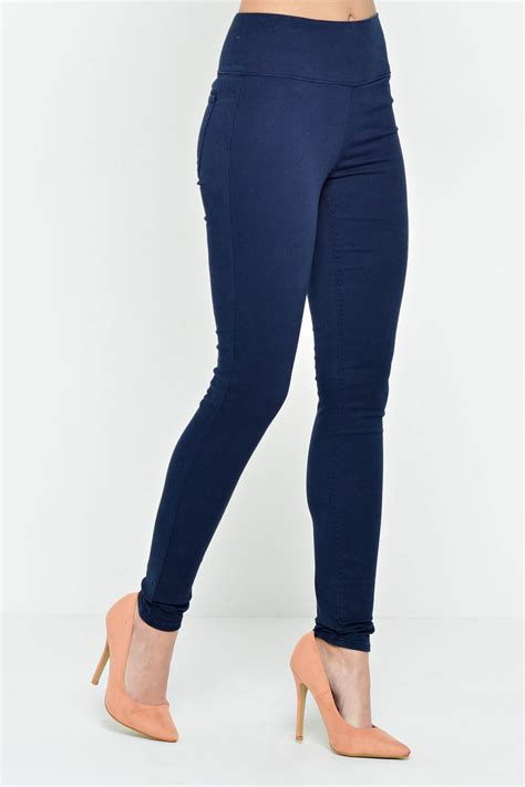 High Waist Navy T2909 1 pieces betty high waist jeggings in navy iclothing