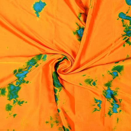 Batik Satin buy orange blue and green batik satin fabric 32045