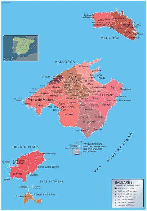 municipios illes balears mapas murales de espana  el mundo