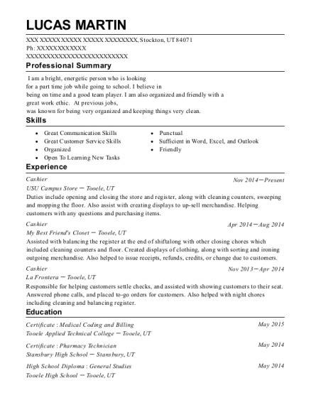 Resume Help Utah best cashier resumes resumehelp