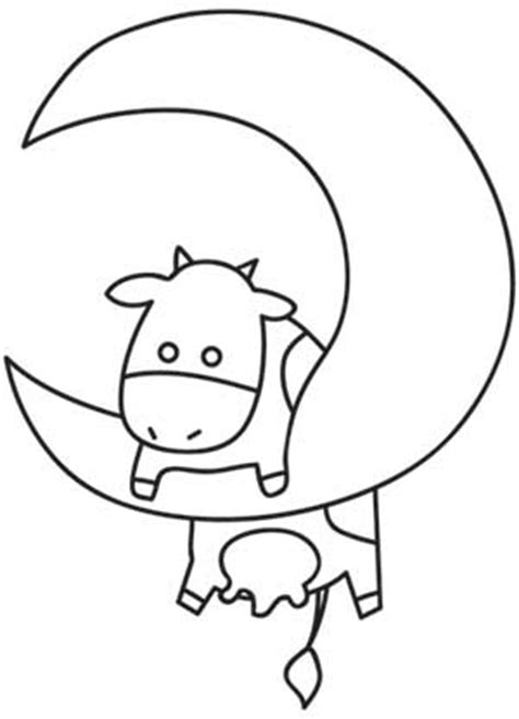 coloring page cow jumping over moon over the moon urban threads unique and awesome