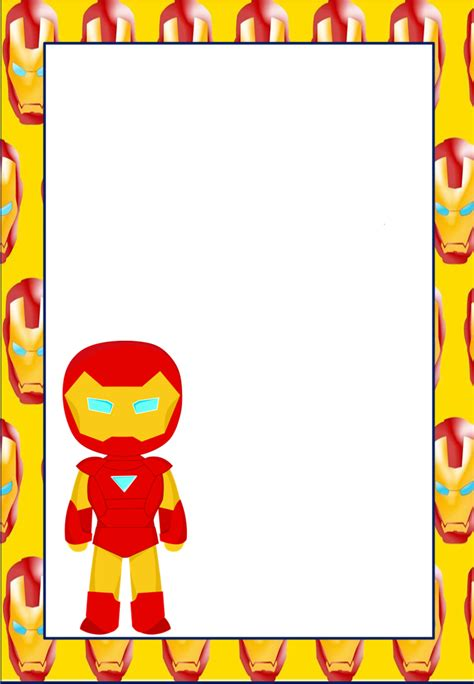 iron birthday card template baby superheroes free printable invitations cards or