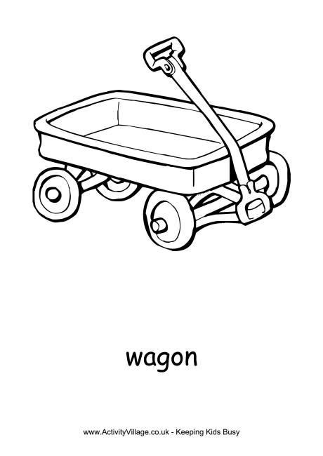 wagon colouring page red wagon  red wagon