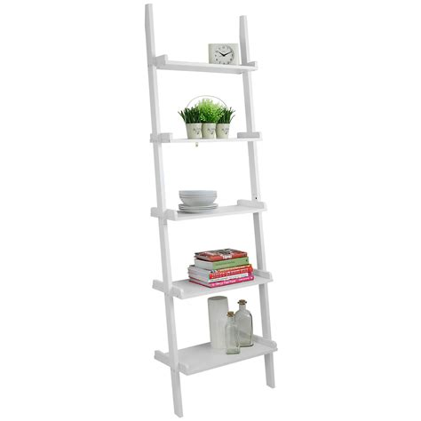 Leaning Ladder Shelf by Hartleys 5 Tier White Leaning Ladder Wall Shelf Shelving