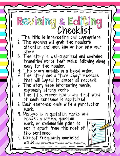 Revising An Essay by 10 Ideas About Editing Checklist On 4th Grade Writing Writing Anchor Charts And