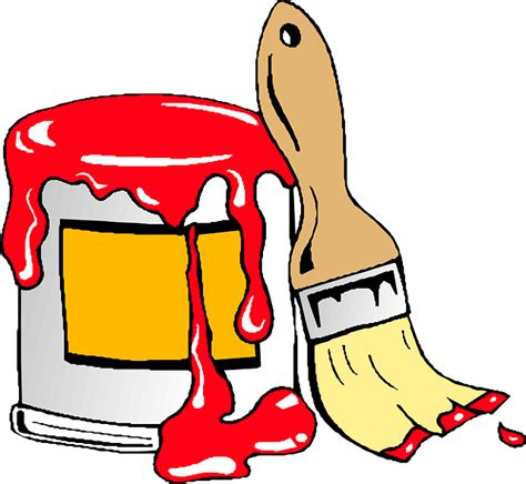 paint man red house wall brush paint man car cartoon public