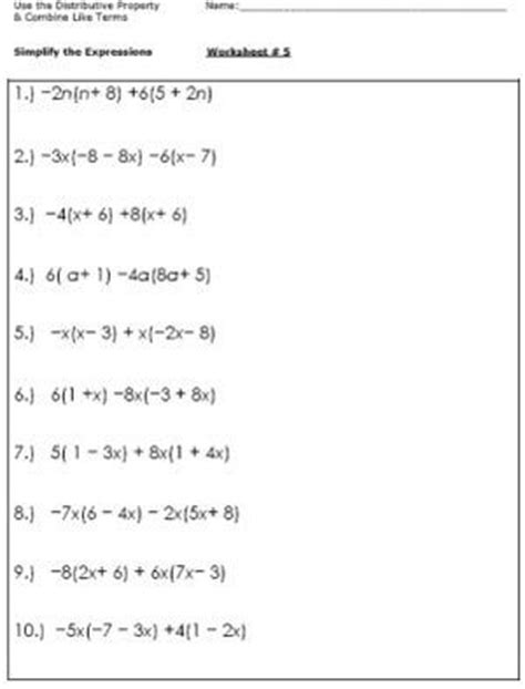 Combining Like Terms With Integers Worksheet by 25 Best Ideas About Algebra Worksheets On