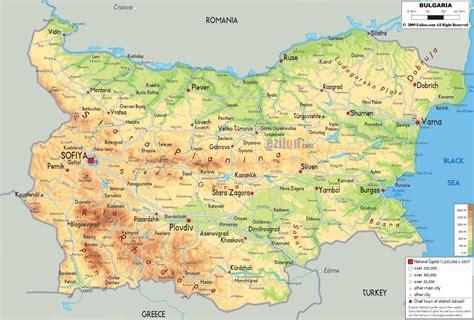 map of bulgaria physical map of bulgaria ezilon maps