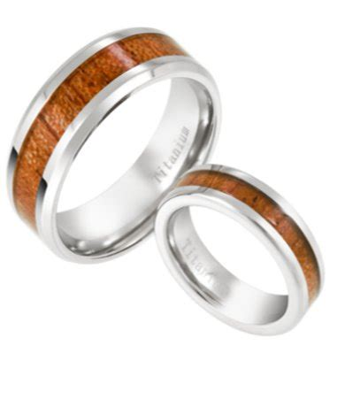 unique titanium and koa wood matching couples rings