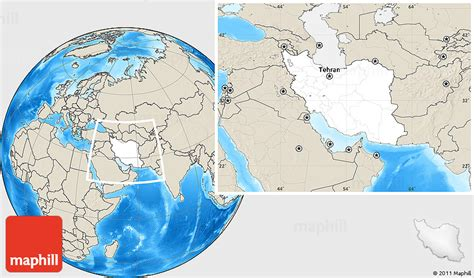 location of iran on world map blank location map of iran shaded relief outside