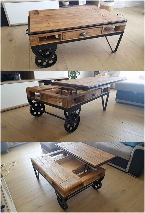 lift top coffee table with wheels low cost diy wood pallet projects that will inspire you