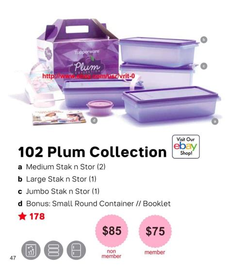 Tupperware Plum Collection Set tupperware snack shop collectibles daily