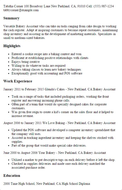 Resume Samples Accounting Experience by Professional Bakery Assistant Templates To Showcase Your