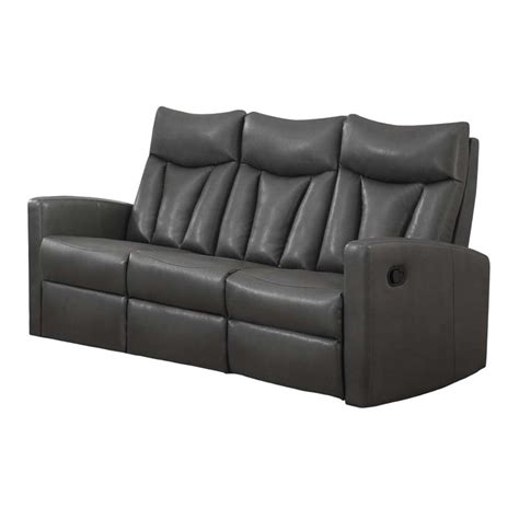 grey leather reclining sofa leather reclining sofa in charcoal gray i87gy 3