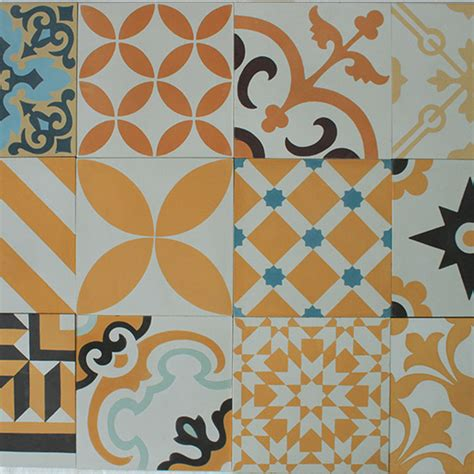 Patchwork Tiles - encaustic cement tile yellow patchwork hadeda tiles